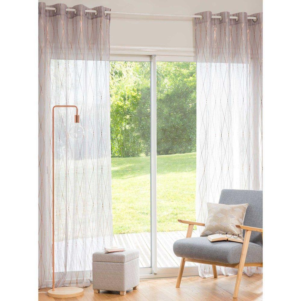 voilage taupe dor 140x250 cm deco rideaux voilages voilage et maison du monde. Black Bedroom Furniture Sets. Home Design Ideas
