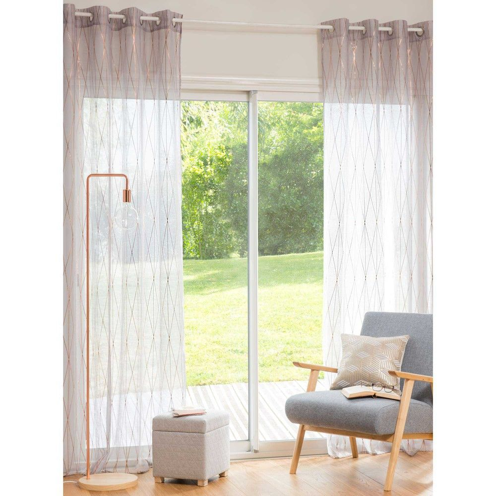 voilage taupe dor 140x250 cm deco rideaux. Black Bedroom Furniture Sets. Home Design Ideas