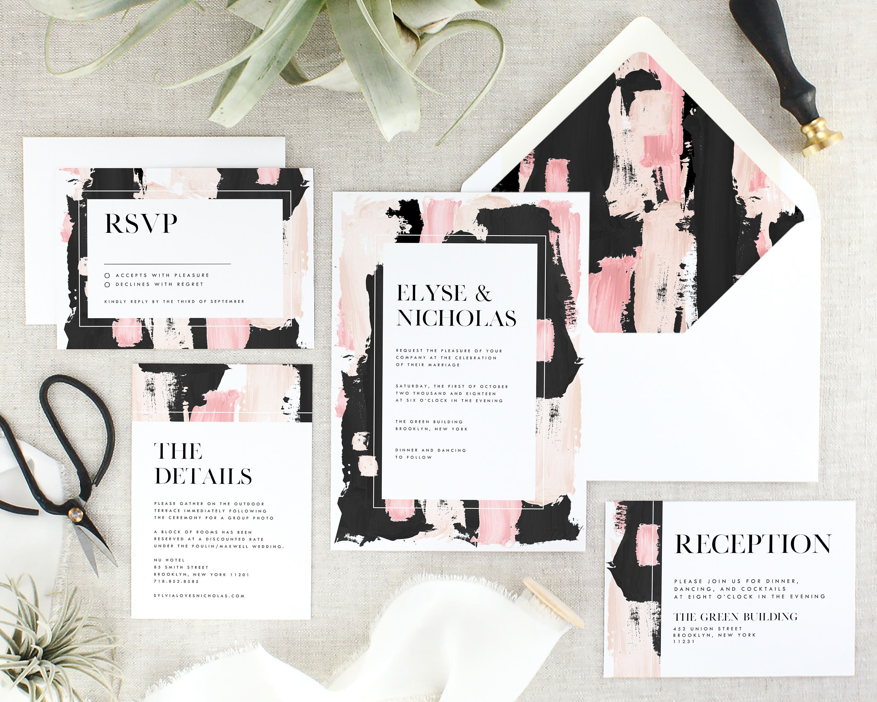 Black and White Wedding Invitation Blush - Modern Wedding Invitation ...