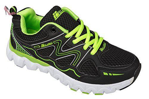 GIBRA chaussures de sport noir/jaune fluo taille 41–46 pied - Noir -