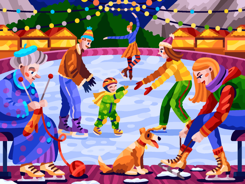 At The Ice Rink In 2020 Coloring Books New Year Holidays Christmas And New Year