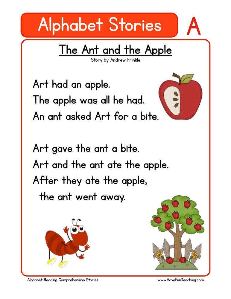 alphabet stories comprehension a | Phonics / Alphabet | Reading ...