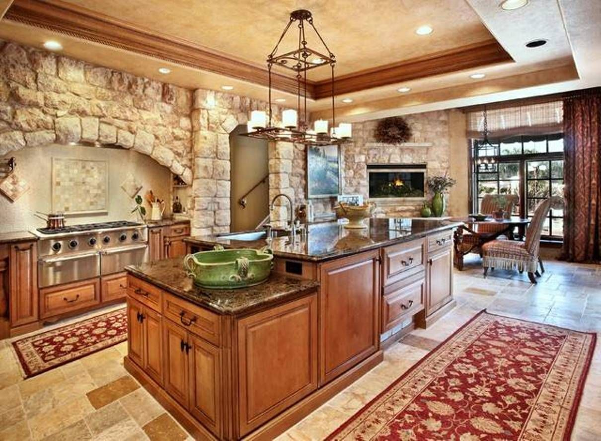 Kitchen , Tuscan Kitchen Style : Stones Tuscan Kitchen Style With Large  Island With Traditional Chandelier And Stone Flooring And Rug And Stove