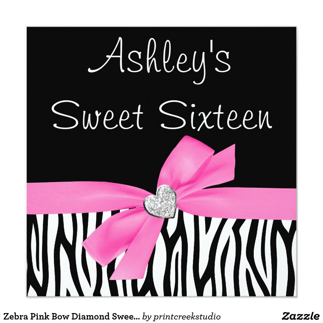 Zebra Pink Bow Diamond Sweet 16 Invitations Sweet 16 invitations