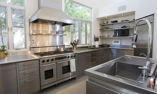 Industrial Kitchens With Stainless Steel Cabinet Island Hood and ...