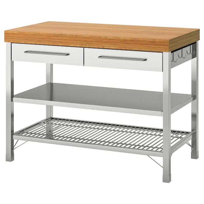 RIMFORSA Work bench stainless steel, bamboo 47 1/4x25 5