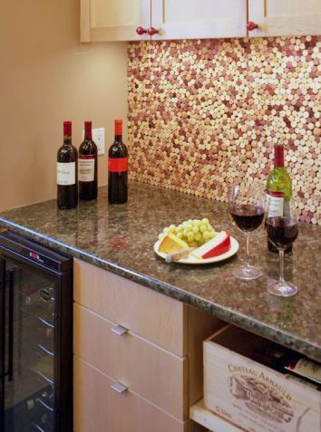 Cork Countertop wine label backsplash - google search | decor & more | pinterest