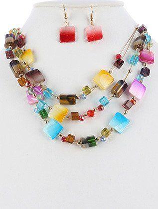 Pearl Metallic Iridescent Three Layer Bib Necklace Earring Set