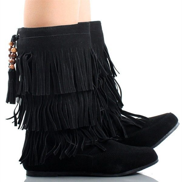 Suede Bead Tassel Fringe Tribal Mid Calf Moccasin