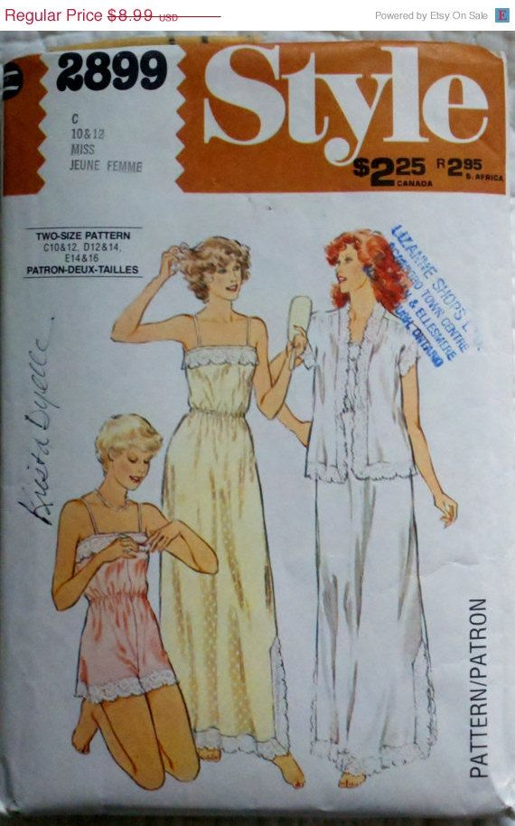 CLEARANCE Style 2899 Vintage 70\'s Womens Sewing Pattern Nightgown ...