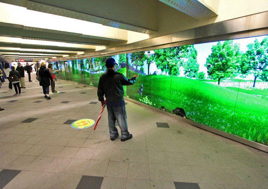 Interactive Digital Signage Wall Brings Play to NYC Subway