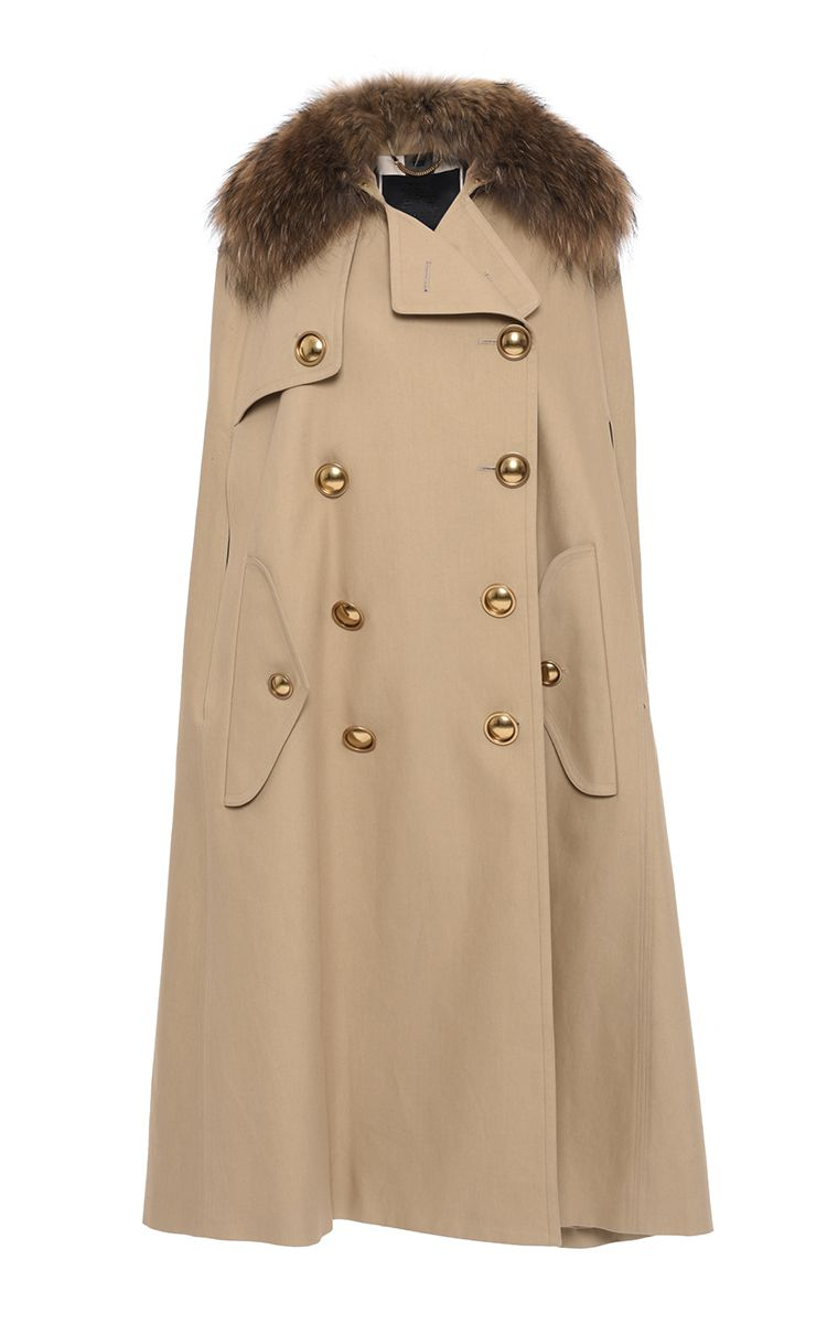 39d698e2236 Trench Cape With Raccoon Collar by BURBERRY Now Available on Moda Operandi