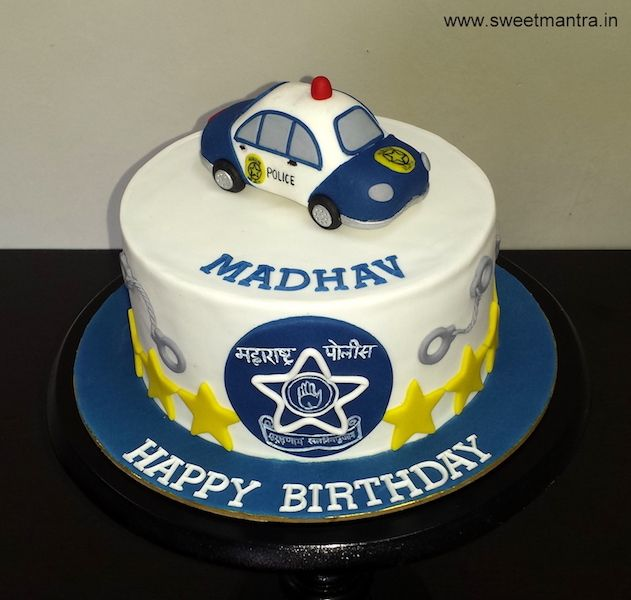 Superb Maharashtra Police Car Theme Customized Designer Fondant Cake For Funny Birthday Cards Online Alyptdamsfinfo