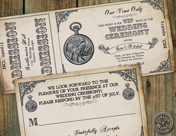 Steampunk Pocket Watch Wedding Ticket Invitation With Matching Rsvp Card    Victorian