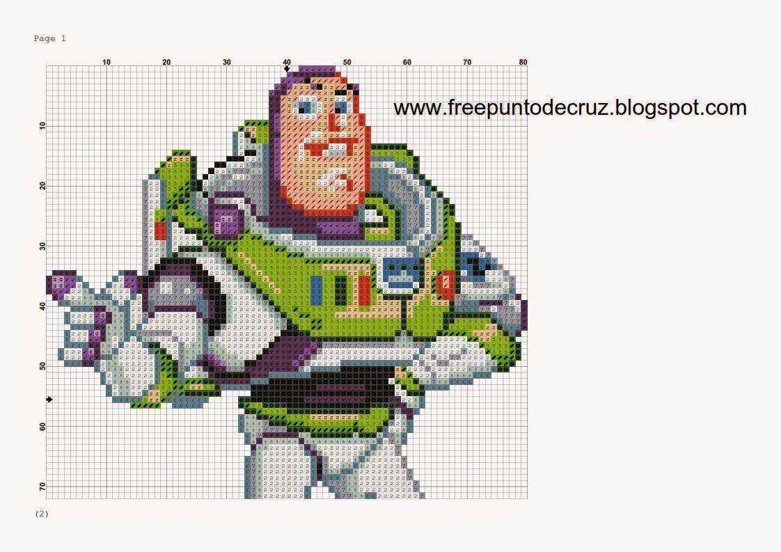 Dibujos Punto de Cruz Gratis: Buzz Lightyear - Toy Story cross stitch pattern  -...