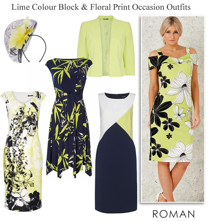 4bca036c2c spring clothes 2019 for womens. Roman #occasionwear #weddingguest  #motherofthebride dresses and matching jackets in lime green navy black and  ivory print