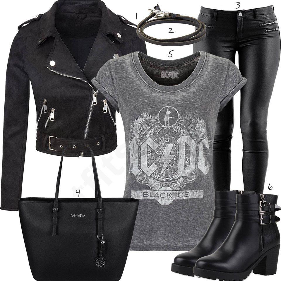 Style mit Shirt, Lederjacke und Stiefeln mit Schnalle