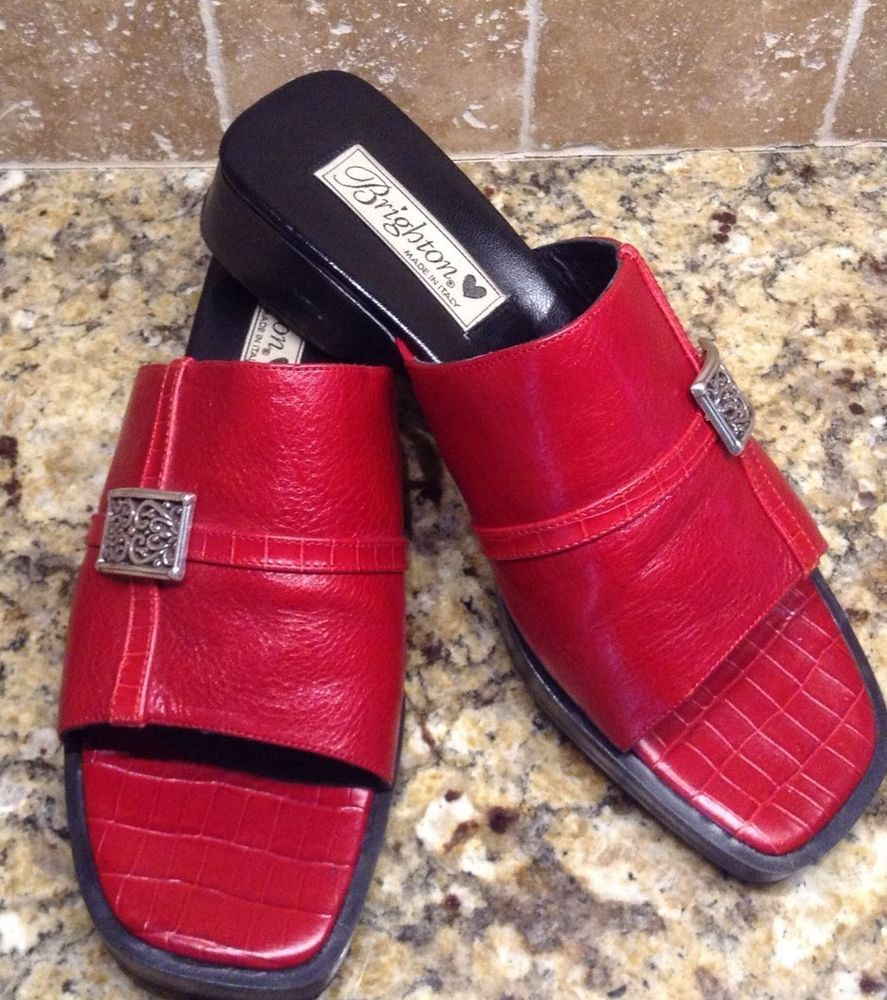 """WOMEN'S BRIGHTON """"BETH"""" RED LEATHER SANDALS SIZE 7.5 MADE IN ITALY #BRIGHTON #Slides"""