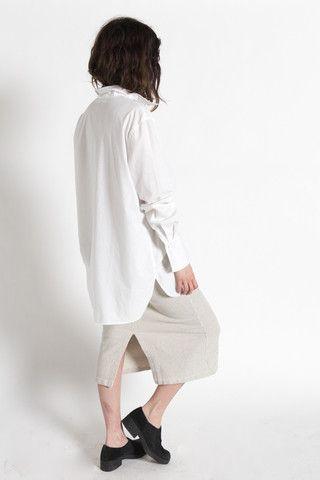 Vintage 70s White Classic Cotton Long Button Up Shirt / VAUXSHOP.COM