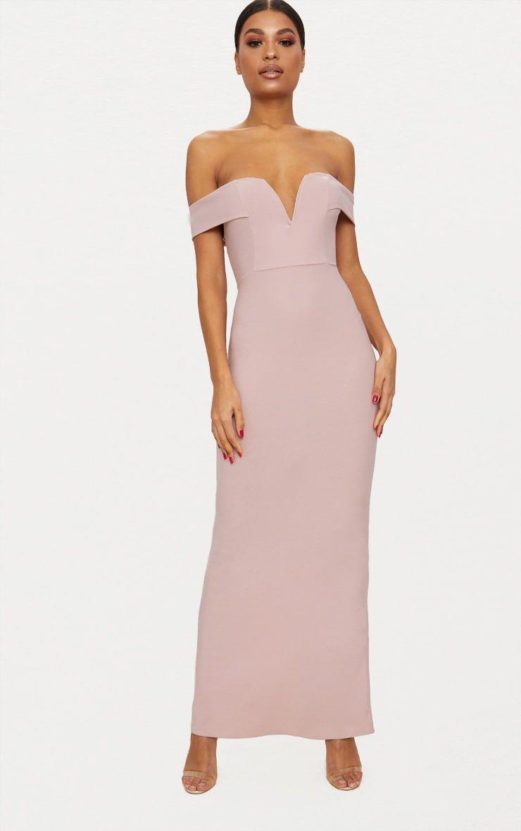Dusty Pink Bardot Long Sleeve Cut Out Detail Fishtail Maxi Dress Pretty Little Thing cTNTyAha