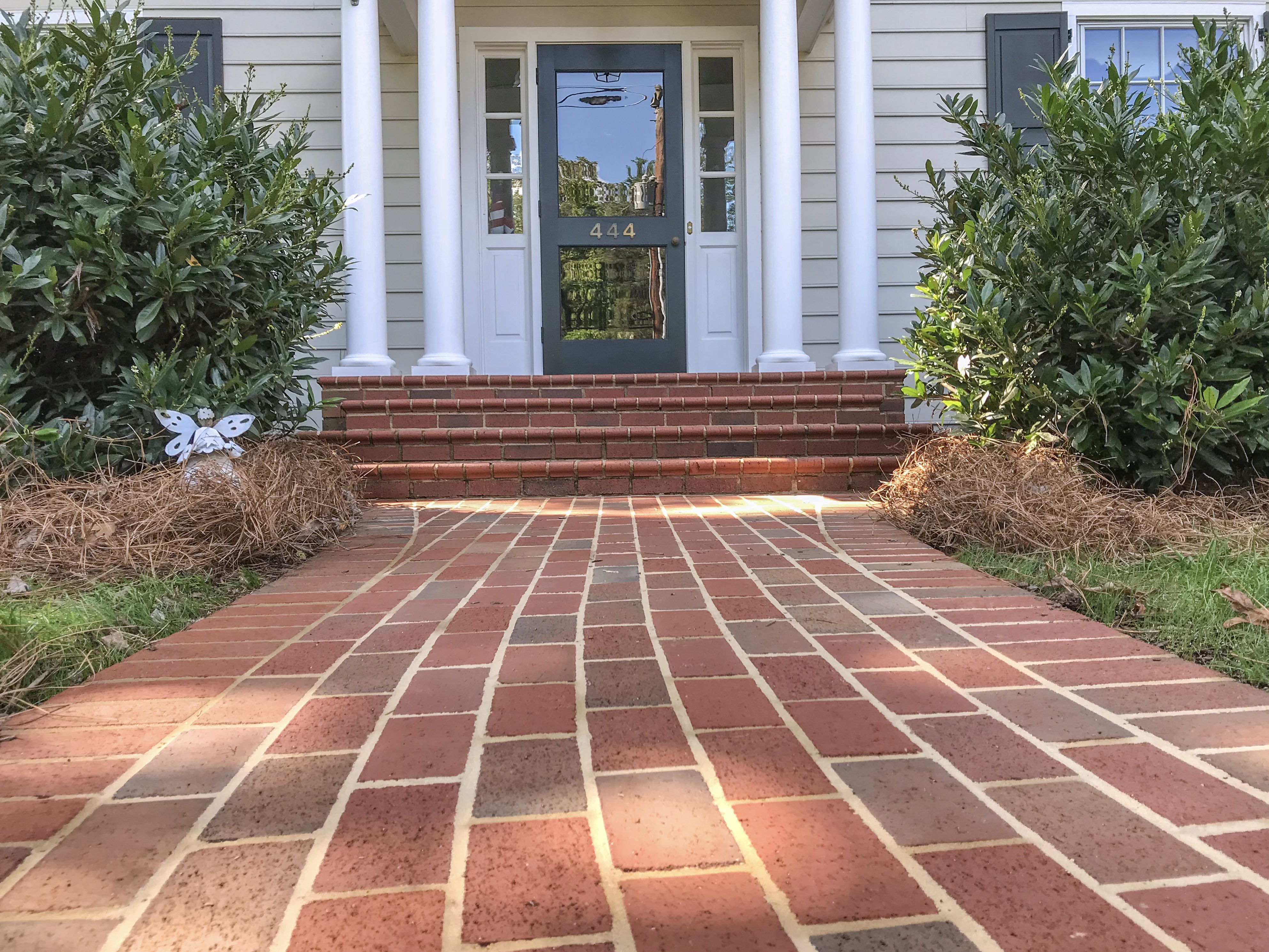 Clean And Formal Right To Your Doorstep With Brick Pavers Shown Pathway Full Range Modular Pavers In Running Bond Pattern Paver Walkway Walkway Brick Pavers