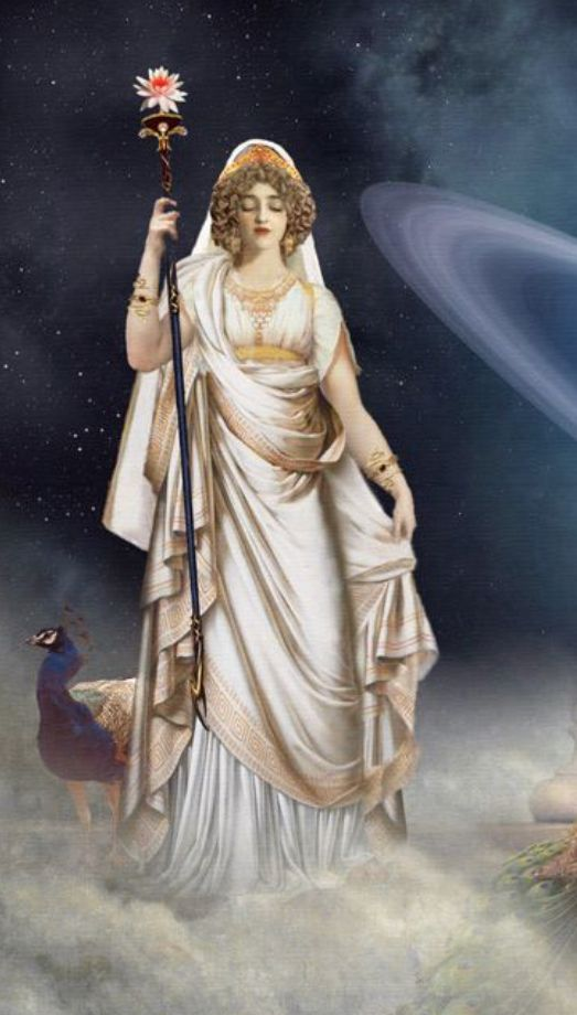 Hera- Goddess of marriage, woman, and family Roman form- Juno
