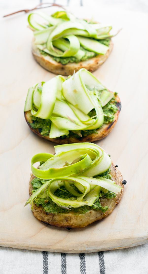 Grilled Potato Rounds with Pesto and Shaved Asparagus   Parties ...