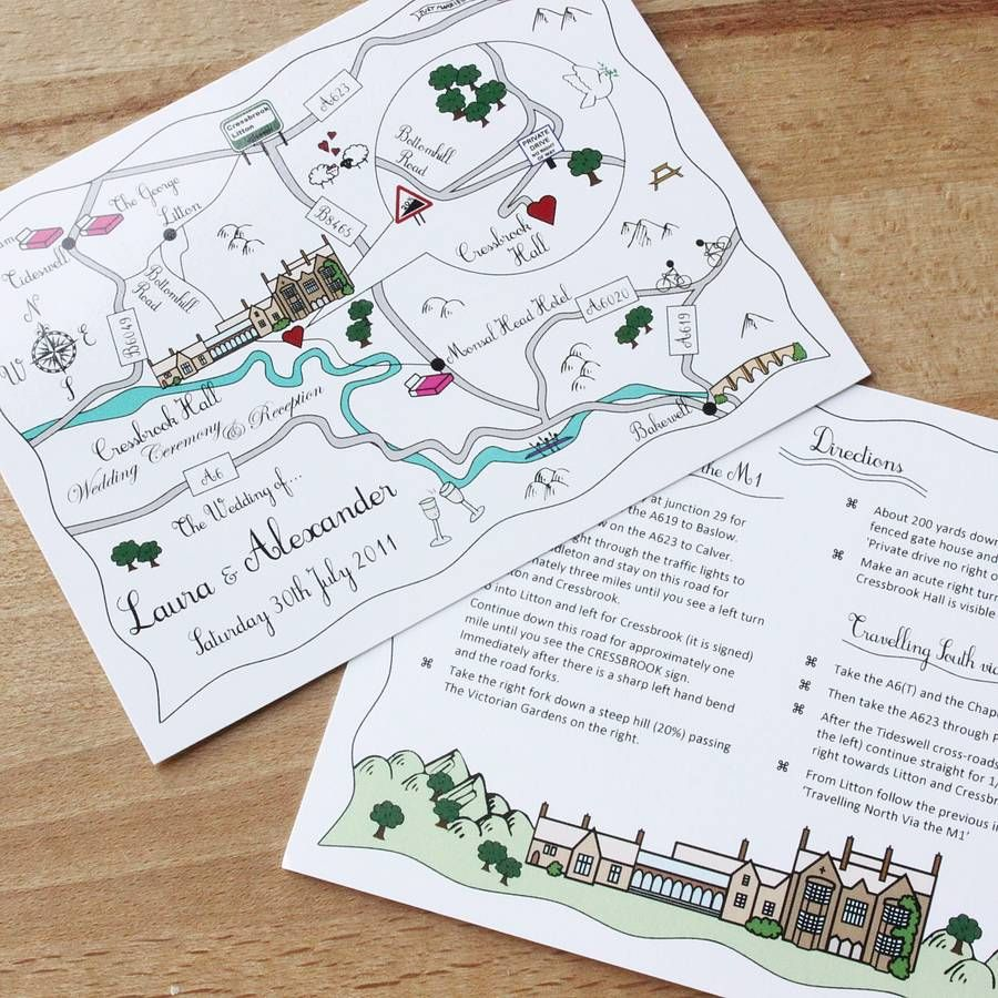 Wedding Invitations With Maps: Wedding Or Party Illustrated Map Invitation