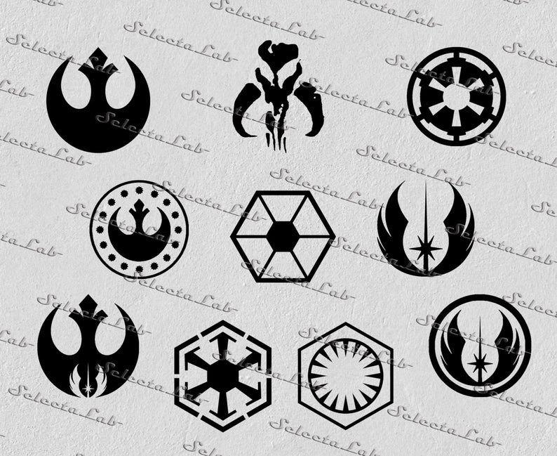 Digital Svg Png Jedi Sith Empire First Order Star Wars Etsy In 2021 Star Wars Symbols Star Wars Stencil Star Wars Icons