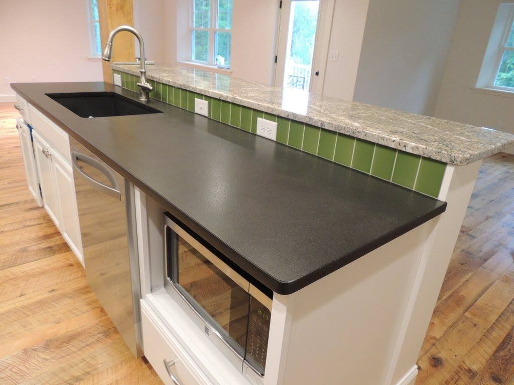 Absolute Black Granite Kitchen Countertop With Leather Finishing