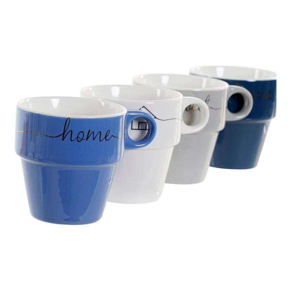 Mug DKD Home Decor Sweet Home Bone China Porcelain (360 ml) (5 pcs)
