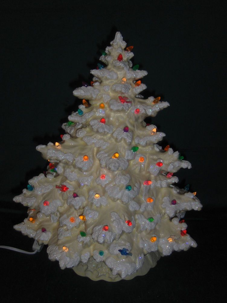 17 Lighted Ceramic Christmas Tree White W White Accents Lace