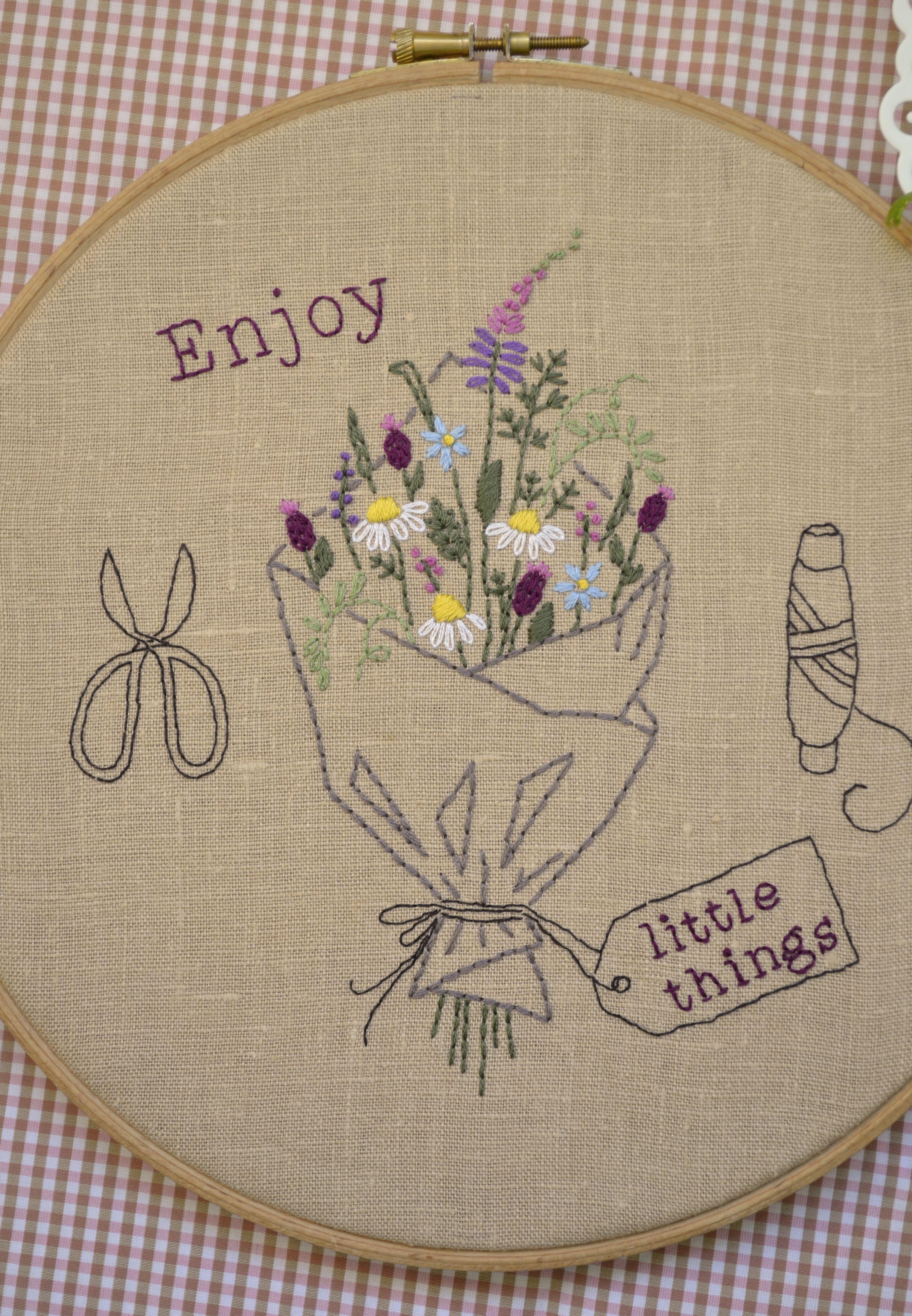 Summer hand embroidery hoop art embroidery hoop diy gift flower