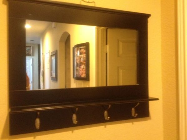 Stunning Hallway Mirror With Shelf Amp Coat Rack Hangers