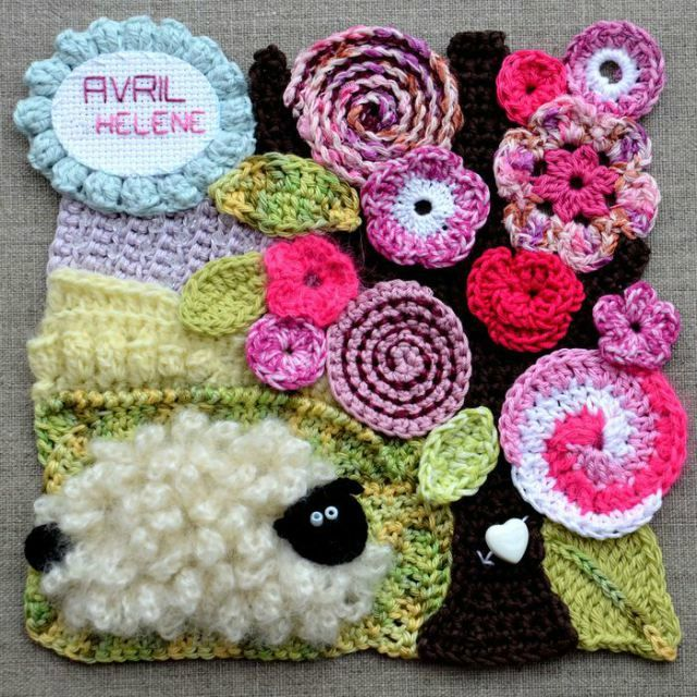 freeform crochet square motif
