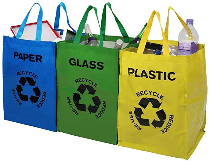 Tresko Set De 3 Bolsas Para Reciclar Basura Sistema De Reciclaje Para Vidrio Plás Separacion De Basura Almacenamiento De Reciclaje Contenedores De Reciclaje