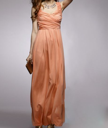 Wide Strap Waist Orange Maxi Dress | Sprence