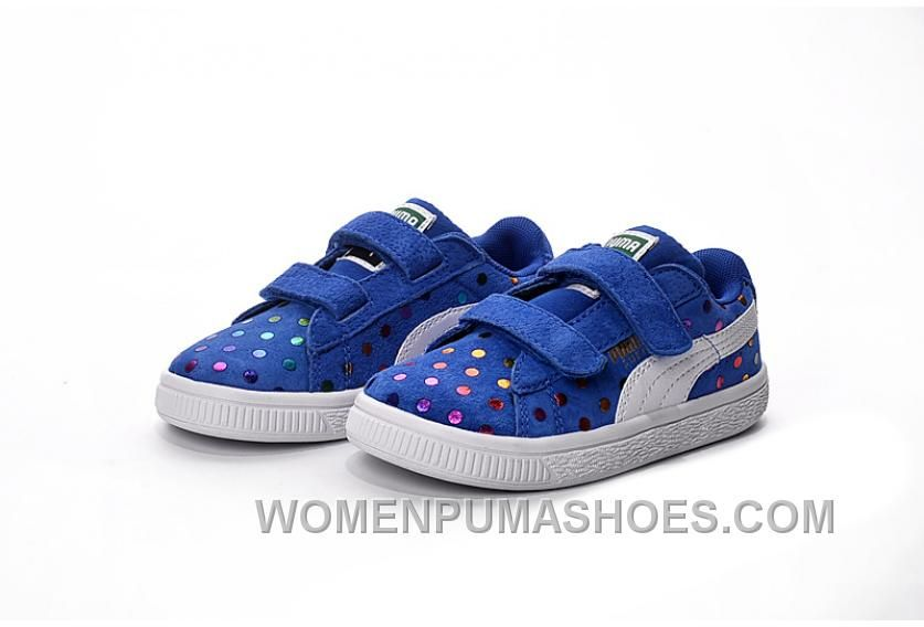 Puma Kids Shoes Navy Blue Colorful Dots
