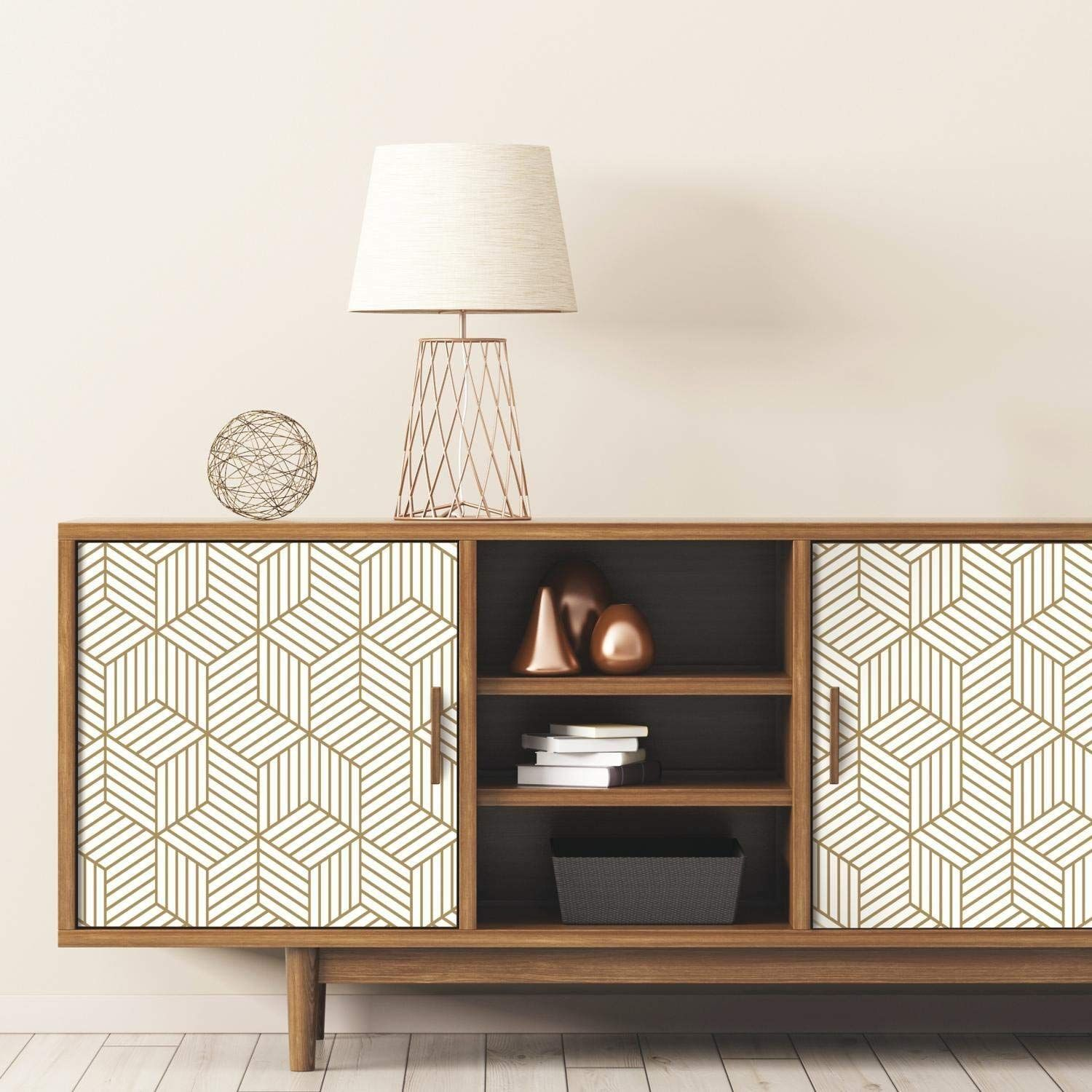 Roommates Gold And White Stripped Hexagon Peel And Stick Wallpaper Amazon Com Peel And Stick Wallpaper Mid Century Modern Wallpaper Roommate Decor