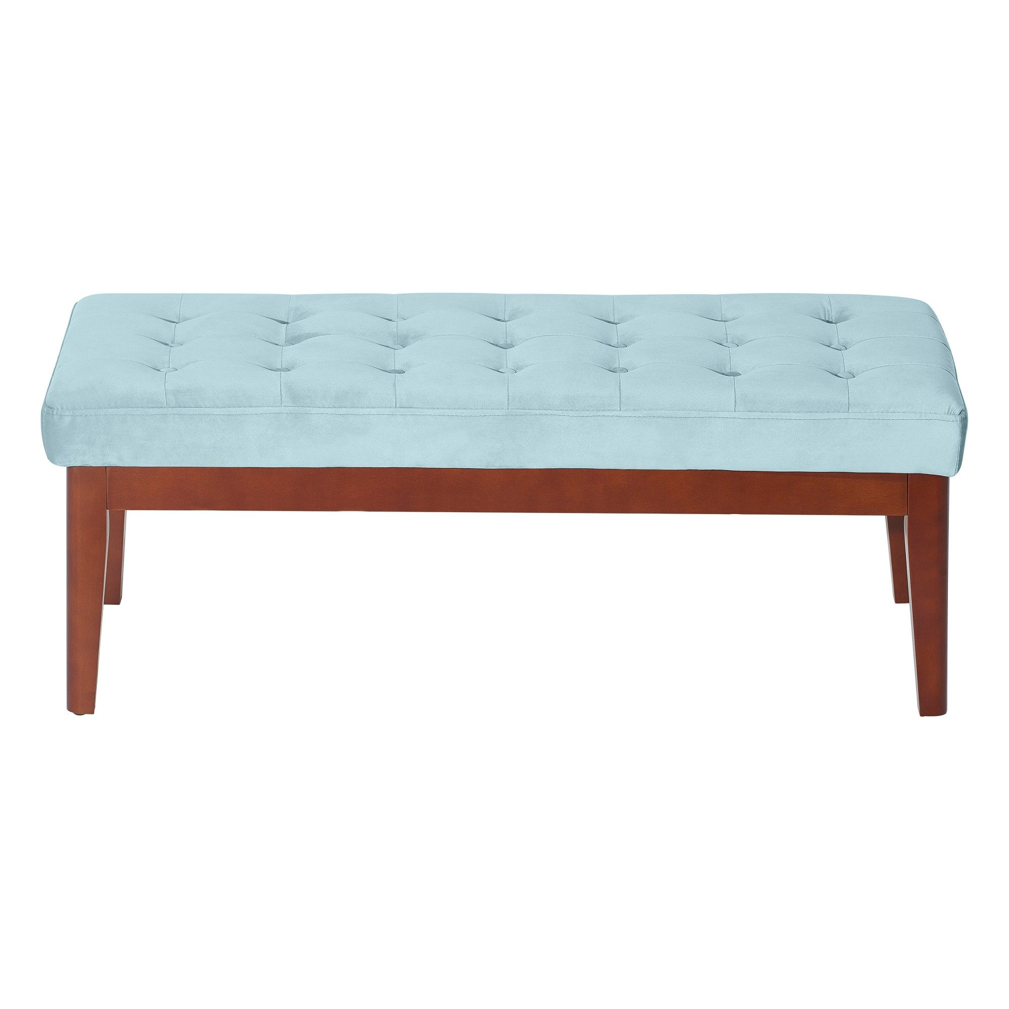 Stupendous Claire Tufted Upholstered Bench Seaglass Blue Velvet Adore Pdpeps Interior Chair Design Pdpepsorg