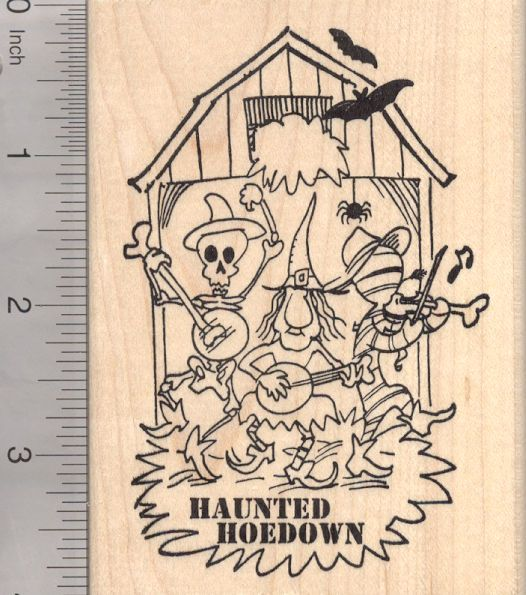 Haunted Halloween Hoedown Rubber Stamp, Dance Party Barn, Country or Folk Music (N18704) $15 at RubberHedgehog.com
