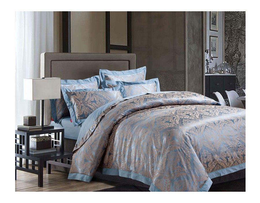 Luxury 4-piece jacquard bedding sets Simple Life Blue ...