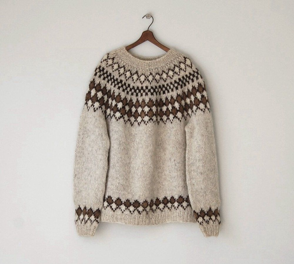 1970s Icelandic Wool Sweater / Vintage Oversized Handknit Fair ...