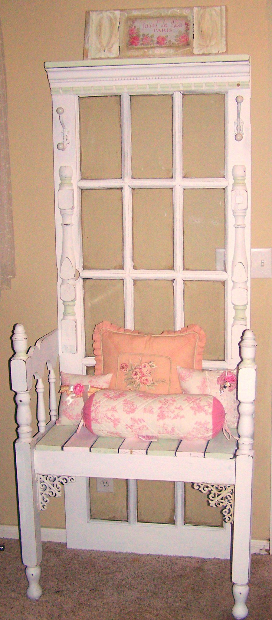 Wooden french door a small cheap wooden headboard sawed in half hall tree made from old french door sides from bed love the added trim what i especially like is that this one uses a french door for the back instead of rubansaba