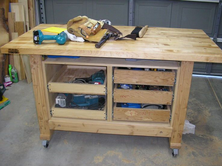 Workbench With Top Bench Still Needs Finishing Bench With Drawers Garage Work Bench Workbench With Drawers