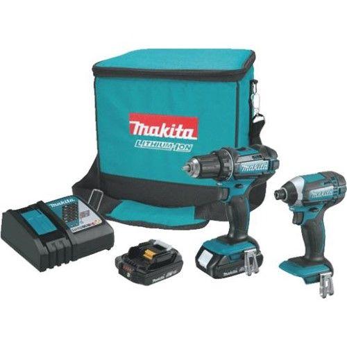 Makita Ct225r 18v Cordless Lithium Ion Impact Driver Drill Combo Kit 2 Tool Makita Impact Driver Cordless Drill