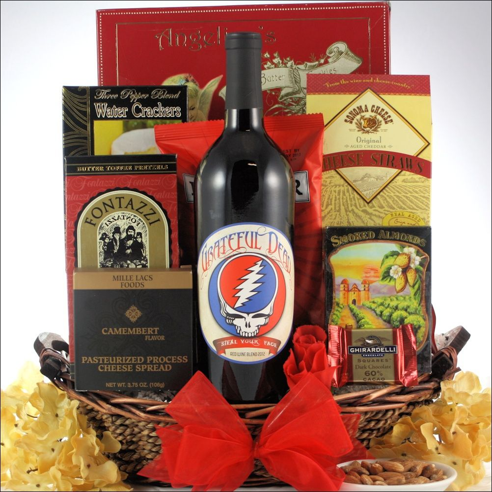 Grateful Dead Father S Day Red Wine Gift Basket Wine Gifts Red Wine Gift Basket Red Wine Gifts