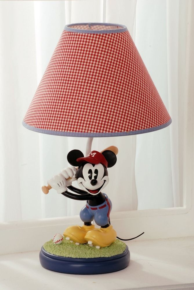 Disney Vintage Mickey Lamp Collectible Baseball Baby
