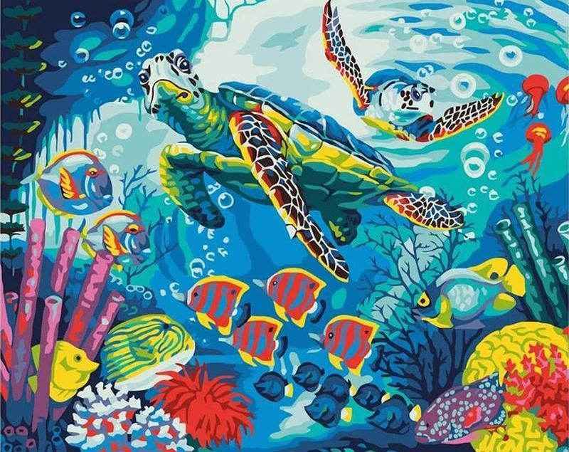 Sea Floor Paint By Numbers Kit For Adults Turtle Painting Sea