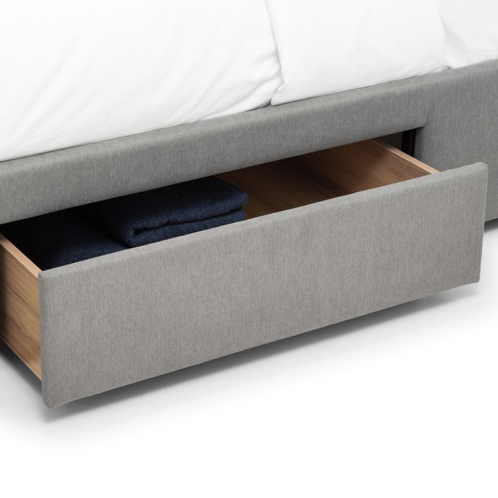 Fullerton Grey Fabric 4 Drawer Storage Bed Frame Only 4ft6